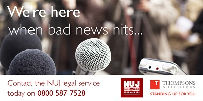 We're here when bad news hits...  Contact the NUJ legal service today on 0800 587 7528.