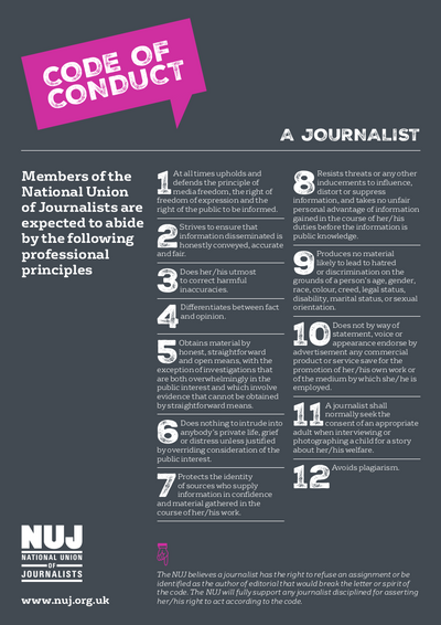 NUJ code of conduct image