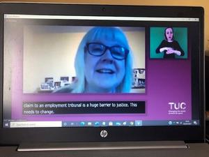 Sara Lews at the TUC Women's Conference 2021