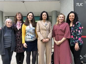 NUJ delegates with Samira Ahmed and TUC policy officer Sian Elliot