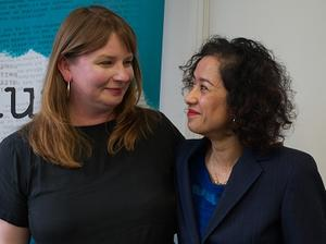 Michelle Stanistreet and Samira Ahmed after the tribunal victory